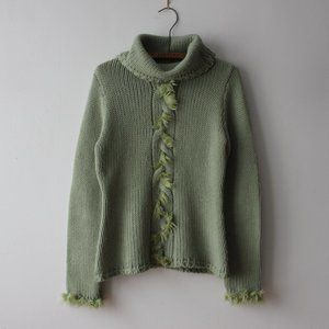 Fun Vintage Green Cowl/Turtleneck Sweater Large